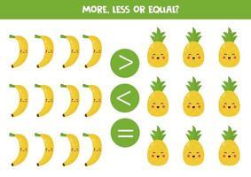mais, menos, igual. comparação de frutas kawaii fofas. vetor