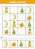 Sudoku para crianças com lindas frutas kawaii. vetor