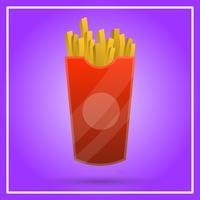 Batatas fritas realista Fast Food com ilustração em vetor fundo gradiente