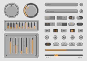 Conjunto de UI de controle de música de áudio vetor