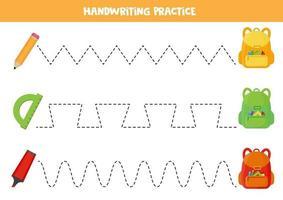 traçando linhas para crianças. praticando habilidades de escrita para pré-escolares. artigos escolares vetor
