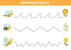 trace as linhas com lindos insetos e flores. prática da escrita. vetor