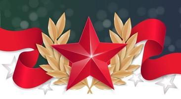 a estrela vermelha com uma coroa de louros em uma fita vermelha vetor
