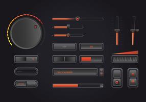 Interface de controle de música de áudio em estilo realista no tema escuro. vetor