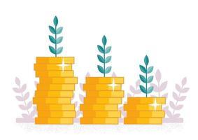 crescimento de moedas na renda vetor