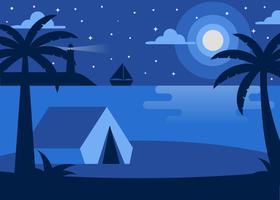 Praia à noite ilustração vetor