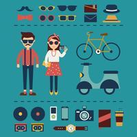 Vetor de coleção de elemento hipster