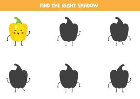 Encontre a sombra certa do lindo pimentão amarelo kawaii. vetor