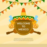 Sombrero plano e elementos mexicanos com ilustração vetorial de fundo vetor
