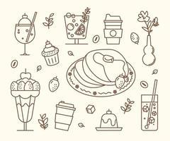 bebidas doces e bolos no café. ilustração em vetor mínimo estilo design plano.