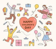 cartão do dia da criança feliz. as crianças pulam de empolgação e os presentes são decorados ao redor delas. ilustração em vetor mínimo estilo design plano.