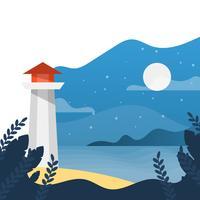 Noite de casa plana luz na praia com ilustração em vetor gradiente fundo minimalista