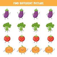 encontre vegetais kawaii que são diferentes dos outros. vetor