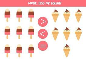 compare a quantidade de sorvetes. mais, menos ou igual. vetor