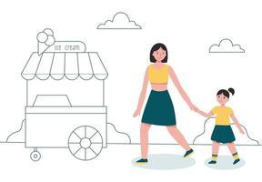 mãe e filha caminhando no parque perto do carrinho de sorvete. vetor