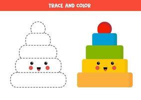 traçar e colorir a pirâmide kawaii bonita. jogo educativo para crianças. vetor