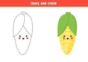 trace e pinte o fofo milho kawaii. página para colorir para crianças. vetor