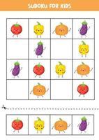 Sudoku para crianças com lindos vegetais kawaii. vetor