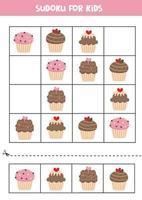 sudoku para crianças com cupcakes bonitos dos desenhos animados. vetor