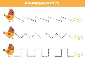 trace as linhas entre a galinha dos desenhos animados e as sementes. vetor