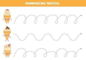 trace as linhas com lindos sorvetes kawaii. vetor