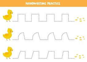 trace as linhas entre o patinho bebê e as sementes. prática de caligrafia. vetor