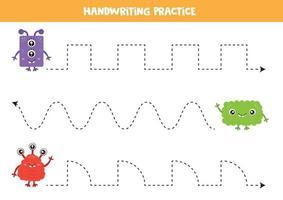 prática de caligrafia para crianças. monstros coloridos bonitos. vetor
