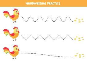 trace as linhas entre o galo e as sementes. aprender a escrever. vetor