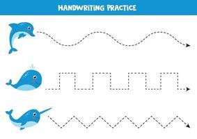 traçando linhas para crianças. prática de escrita com desenho animado narval, baleia e golfinho. vetor