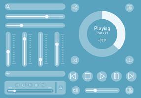 IU de controle de música de áudio vetor