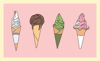 conjunto de casquinha de sorvete. menu com sabores diferentes. mão desenhada estilo ilustrações vetoriais. vetor