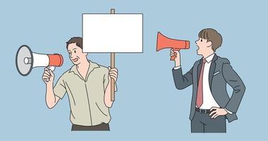 homens com alto-falantes entregam mensagens. mão desenhada estilo ilustrações vetoriais. vetor