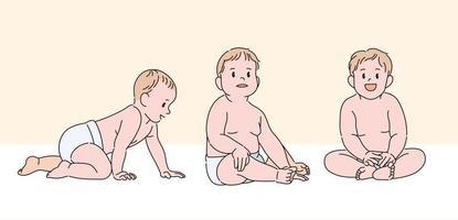 personagem de bebê fofo. mão desenhada estilo ilustrações vetoriais. vetor