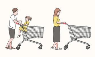pais empurrando carrinhos de compras vetor