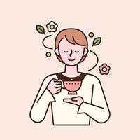 uma mulher elegante está bebendo chá com uma caneca bonita na mão. ilustração em vetor mínimo estilo design plano.