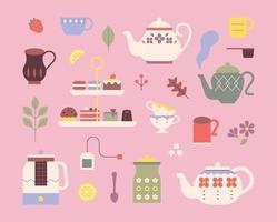 jogo de chá fofo. bules estampados retrô e sobremesas doces. ilustração em vetor mínimo estilo design plano.