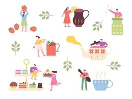 as pessoas estão tomando chá com bules e sobremesas gigantes. ilustração em vetor mínimo estilo design plano.