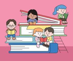 há grandes livros empilhados e personagens fofinhos estão sentados e lendo livros. mão desenhada estilo ilustrações vetoriais. vetor