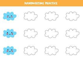 traçar contornos de lindas nuvens kawaii. prática da escrita. vetor