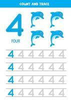 planilha para aprender números com golfinhos de desenhos animados. numero quatro. vetor