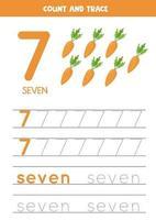 traçando a palavra sete e o número 7. ilustrações vetoriais de cenouras dos desenhos animados. vetor