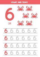 planilha para aprender números com caranguejos de desenho animado. número seis. vetor