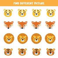 encontre uma imagem diferente em cada linha. rostos de animais bonitos dos desenhos animados. vetor