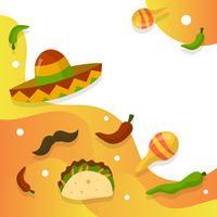 Sombrero plano e elementos mexicanos com ilustração em vetor fundo gradiente