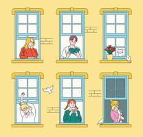 vizinhos vistos pelas janelas das paredes dos apartamentos. mão desenhada estilo ilustrações vetoriais. vetor