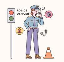 Conjunto de personagens e ícones de policial. ilustração em vetor mínimo estilo design plano.