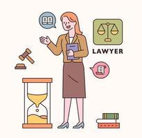 personagem de advogado e conjunto de ícones. ilustração em vetor mínimo estilo design plano.