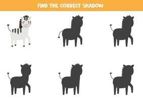 Encontre a sombra certa da zebra dos desenhos animados. jogo lógico para crianças. vetor