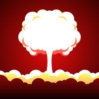 Ilustração de explosão nuclear vetor