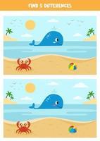 bonito dos desenhos animados de verão vista do mar com bola de baleia, caranguejo e brinquedo. vetor